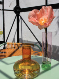 Gartentisch gedeckt mint apricot